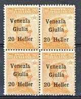 Venezia Giulia 1918-19 SS 3 N. 31 H. 20 Su C. 20 Arancio QUARTINA MNH - Venezia Giulia