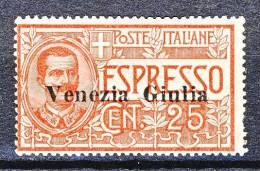 Venezia Giulia 1919 Espresso N. 1 C. 25 Rosso MLH Cat. € 240 - Venezia Giulia