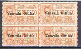 Venezia Giulia 1919 Espresso N. 1 C. 25 Rosso MNH Venduti Singoli Cat. € 600 - Venezia Giulia