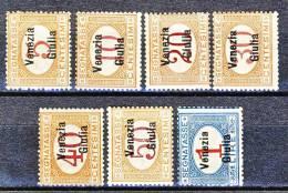 Venezia Giulia 1918 Segnatasse SS 4 N. 1 - 7 MNH Alti Valori Firmati Diena E Timbri Garanzia Cat. € 3000 - Occupation 1ère Guerre Mondiale