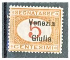Venezia Giulia 1918 Segnatasse SS 4 N. 1 C. 5 Arancio E Carminio MNH Cat. € 40 - Venezia Giulia