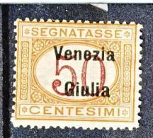 Venezia Giulia 1918 Segnatasse SS 4 N. 6 C. 50 Arancio E Carminio MNH Cat. € 800 - Venezia Giulia