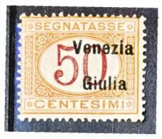 Venezia Giulia 1918 Segnatasse SS 4 N. 6 C. 50 Arancio E Carminio MNH Firmato  Cat. € 800 - Venezia Giulia