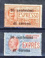 Trento E Trieste 1919 Espressi SS 2  N. 1 - 2 MNH - Trento & Trieste