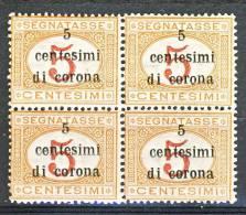 Trento E Trieste 1919 Segnatasse SS 3 N. 1 C. 5 Su C. 5 Arancio E Carminio QUARTINA. MNH - Trento & Trieste