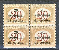 Trento E Trieste 1919 Segnatasse SS 3 N. 3 C. 20 Su C. 20 Arancio E Carminio. QUARTINA MNH - Trento & Trieste