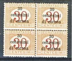 Trento E Trieste 1919 Segnatasse SS 3 N. 4 C. 30 Su C. 30 Arancio E Carminio. QUARTINA MNH - Trento & Trieste