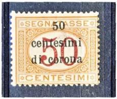 Trento E Trieste 1919 Segnatasse SS 3 N. 6 C. 50 Su C. 50 Arancio E Carminio. MNH - Trento & Trieste