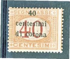 Trento E Trieste 1919 Segnatasse SS 3 N. 5 C. 40 Su C. 40 Arancio E Carminio. MNH - Trento & Trieste