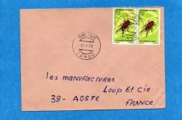 MARCOPHILIE-lettre-congo -cad -DOLISIE-1973-2stamps- N°274  -insect-Metopodontus--pou R Françe - Congo - Brazzaville