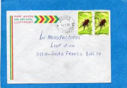 MARCOPHILIE-lettre-congo -cad -Brazzaville-1974-2stamps- N°274  -insect-Metopodontus--pour Françe - Congo - Brazzaville