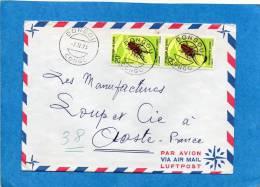 MARCOPHILIE-lettre-congo -cad DONGOU-1973-2stamps - N°274  -insect-Metopodontus--pou R Françe - Congo - Brazzaville