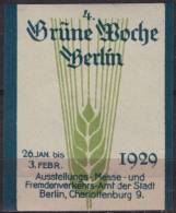 4. Grüne Woche - Agriculture Exhibition - 1929 Berlin GERMANY - LABEL CINDERELLA - Wheat - Agriculture