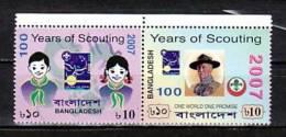 """BANGLADESH - 2007-  """" A CENTENARY SCOUT """" -   SERIE De 2 V. JUNTOS - DENTADOS - Scouting"""