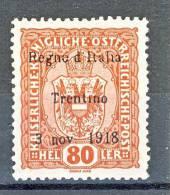 Trentino Alto Adige 1918 SS 1 N. 13  80H Bruno Rosso Centratissimo MH - Trentino