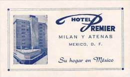 MEXICO MEXICO CITY HOTEL PREMIER VINTAGE LUGGAGE LABEL - Hotel Labels