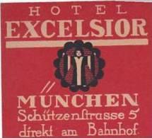 GERMANY MUNCHEN HOTEL EXCELSIOR VINTAGE LUGGAGE LABEL - Hotel Labels