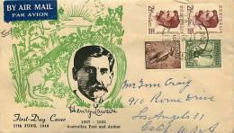 1949  Henry Lawson Pair On  Rex Bodin Cachet To USA Uprated  Mangoplah NSW - FDC