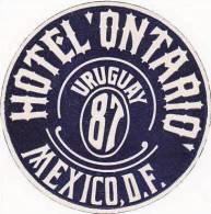 MEXICO MEXICO CITY HOTEL ONTARIO VINTAGE LUGGAGE LABEL - Hotel Labels