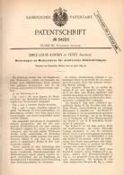 Original Patentschrift - E. Roussy In Vevey , Schweiz , 1885 , Regulator Für Lampen , Laternen , Laterne !!! - Luminaires