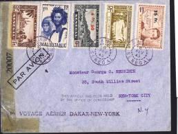 1945  Lettre 1er Vol Dakar - New York  Censurée Retenue Par Le Bureau De Censure Affranchissement Mixte Sénégal Mauritan - Airmail
