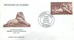 1974  F A Bartholdi, Lion De Belfort  Poste Aérienne FDC - Bénin – Dahomey (1960-...)