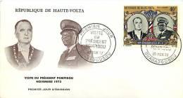 1972  Visite Du Président Pompidou En Haute-Volt  Poste Aérienne FDC - Obervolta (1958-1984)