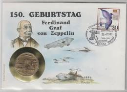 Zeppelin Numisbrief  150.Geburtstag - Postzegels