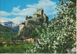 AOSTA--CASTELLO DI S. PIERRE M. 731 SEC XI-XIII--ALBERI IN FIORE--FG--N - Italia