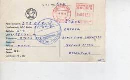 COCHABAMBA  BOLIVIA  QSL CIRCULADO AÑO 1976  OHL - Bolivië