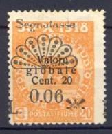 Fiume 1921 Segnatasse Sass.S.17 Senza Gomma (*)/MNG VF/F - Fiume