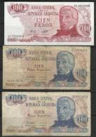 ARGENTINE . LOT DE TROIS  BILLETS DE 100  PESOS . - Argentine