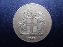 ICELAND 1946 ONE KRONA Aluminium-bronze Republic USED COIN In VERY FINE CONDITION. - Iceland