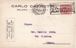 """MILANO  /  Cartolina Pubblicitaria """" Carlo CAPROTTI - Mercato A Termine Frumento _ 14.01.1928 """" _ Viaggiata - Milano (Milan)"""