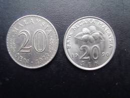 MALAYSIA  TWO TWENTY SEN COINS 1973,1990 -  ONE EACH YEAR IN GOOD CONDITION And USED. - Malaysie