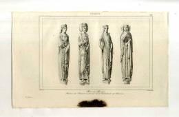 - FRANCE . ROIS ET REINES (cathédrale De Chartres) . GRAVURE SUR ACIER DE LA 1ere 1/2 DU XIXe S. - Sculptures