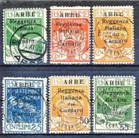 Arbe 1920 Francobolli Di Fiume Soprastampati Reggenza Italiana Del Carnaro  SS 51 N. 5 - 10 USATI  Cat. € 350 - Arbe & Veglia
