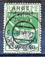 Arbe 1920 Bolli Di Fiume Soprastampati Reggenza Italiana Del Carnaro  Espresso N. 2 C. 50 Su 5 Verde USATO Cat. € 250 - Arbe & Veglia