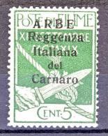 Arbe 1920 Francobolli Di Fiume Soprastampati Reggenza Italiana Del Carnaro SS 51 N. 5 C. 5 Verde MNH Cat. € 110 - Arbe & Veglia