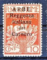 Arbe 1920 Francobolli Di Fiume Soprastampati Reggenza Italiana Del Carnaro SS 51 N. 6 C. 10  Carminio MNH  Cat. € 135 - Arbe & Veglia