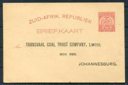 Südafrika South Africa Ganzsache Stationery GS-Karte Privat-Zudruck Transvaal Coal Trust Mining Johannesburg - África Del Sur (...-1961)