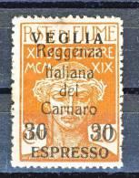 Veglia 1920 Espresso N. 1 C. 30 Su 20 Ocra Francobolli Di Fiume Soprastampati  MLH, Firmato Biondi Cat. € 450 - Arbe & Veglia
