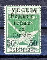 Veglia 1920 Espresso N. 2 C. 50 Su 5 Verde Bolli Di Fiume Soprastampati Reggenza Italiana Del Carnaro MLH Cat. € 350 - Arbe & Veglia