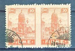 Fiume 1919 A35f, C. 10 Carminio Rosa. VARIETA' Coppia Orizzontale Non Dentellata In Mezzo USATI, Cat. € 425 - Fiume