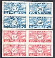 Fiume 1920 Espressi SS 33 N. E1k - E2k QUARTINE MNH LUX, Freschissime, Super, Firmati Biondi Cat. € 1760 - Fiume