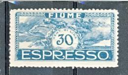Fiume 1920 Espressi SS 33n. E 1 C. 30 Azzurro Verdastro MNH Cat € 40 - Fiume