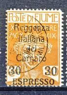 Fiume 1920 Espressi SS 35 N. 3 C. 30 Su 20 Ocra Soprastampato Reggenza Italiana Del Carnaro USATO Cat. € 200 - Fiume