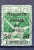 Fiume 1920 Espressi SS 35 N. 4 C. 50 Su C. 5 Verde Soprastampato Reggenza Italiana Del Carnaro USATO Cat. € 140 - Fiume