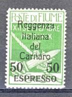 Fiume 1920 Espressi SS 35 N. 4 C. 50 Su C. 5 Verde Soprastampato Reggenza Italiana Del Carnaro MLH Cat. € 440 - Fiume