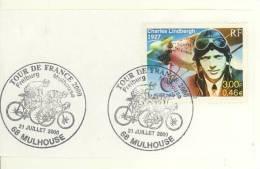 """2 Cachets Grand Format """"Le Tour De France à Mulhouse Le 21 Juillet 2000"""" + Timbre Lindbergh - Vélo Cyclisme Cycliste - Cyclisme"""